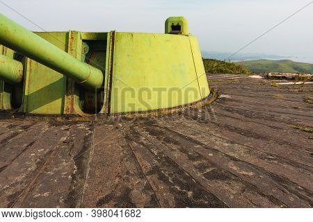 The Barrel With The Tower Of The Tank  Above The Concrete Bunker, Fortifications Of The Second World