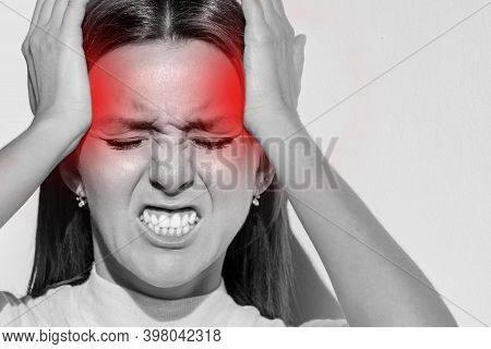 Woman Touching Her Temples, Having Strong Tension Headache. Cluster Headache, Migraine. Hands On Hea