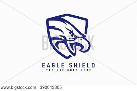 Eagle Logo Design. Modern Blue Eagle Head In A Shield, Isolated On White Background. Flat Vector Log