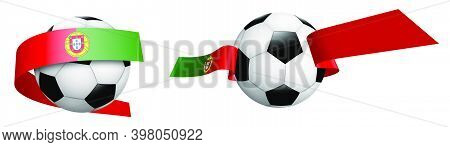 Balls For Soccer, Classic Football In Ribbons With Colors Portugal Flag. Design Element For Football