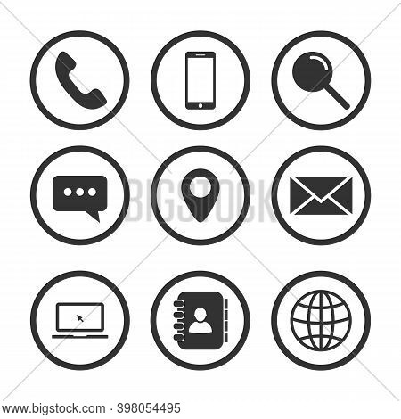 Contact Us Vector Icon Set Isolated On White Background