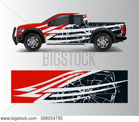 Cargo Van And Car Wrap Vector, Truck Decal Designs, Graphic Abstract Stripe Designs For Offroad Race