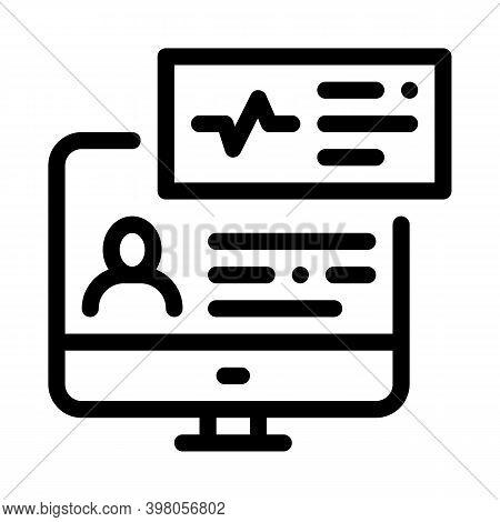 Cardio Analysis Internet Diagnosis Black Icon Vector. Cardio Analysis Internet Diagnosis Sign. Isola