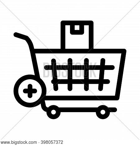 Buying Products And Adding In Market Cart Black Icon Vector. Buying Products And Adding In Market Ca