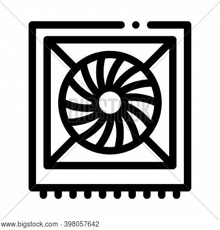 System Fan Computer Component Black Icon Vector. System Fan Computer Component Sign. Isolated Symbol