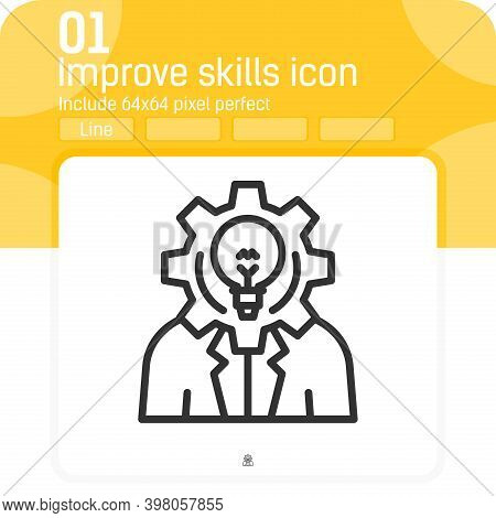 Improve Skills Premium Icon With Outline Style Isolated On White Background. Vector Illustration Imp