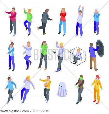Frightened People Icons Set. Isometric Set Of Frightened People Vector Icons For Web Design Isolated