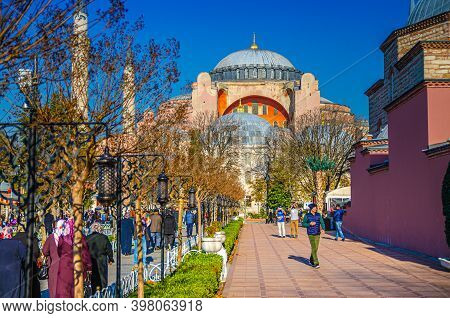 Istanbul, Turkey, November 25, 2017: Hagia Sophia Grand Mosque Ayasofya Camii Church Museum And Peop