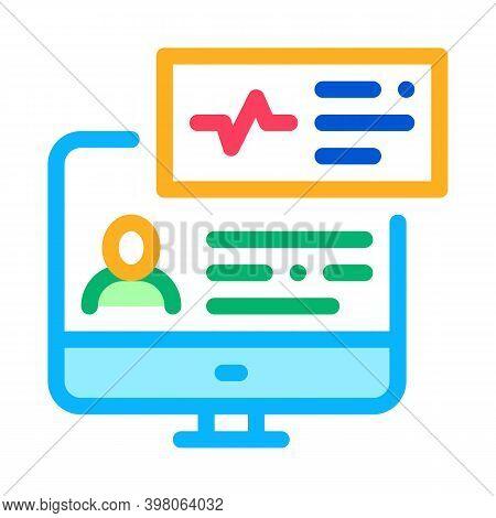 Cardio Analysis Internet Diagnosis Color Icon Vector. Cardio Analysis Internet Diagnosis Sign. Isola