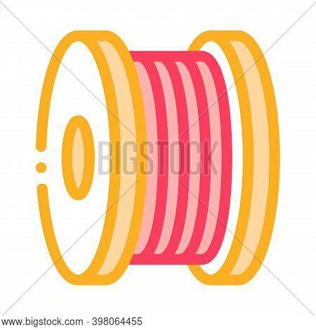 Bobbin Fiber Color Icon Vector. Bobbin Fiber Sign. Isolated Symbol Illustration