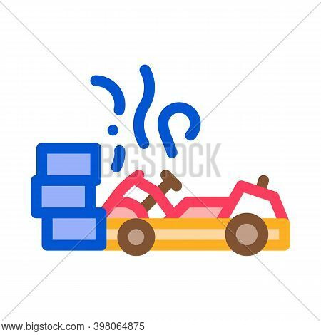 Crash Accident Kart Color Icon Vector. Crash Accident Kart Sign. Isolated Symbol Illustration