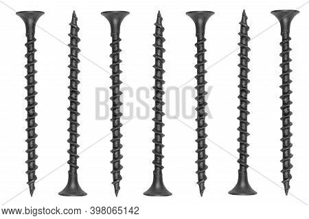 Self Tapping Metal Screw Isolated On A White Background. Self-tapping Screws Isolated Over White Bac