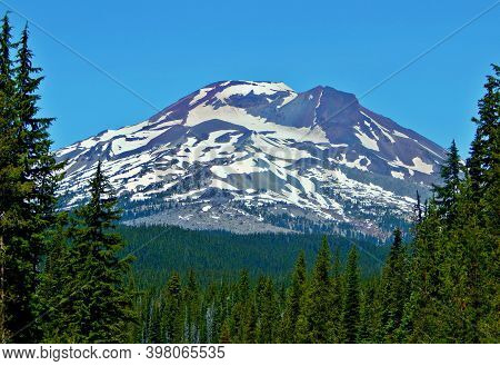 Big Sister - A Close-up Of South Sister Peak As Seen From Cascade Lakes Highway - Cascade Range - Ne