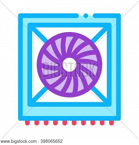 System Fan Computer Component Color Icon Vector. System Fan Computer Component Sign. Isolated Symbol