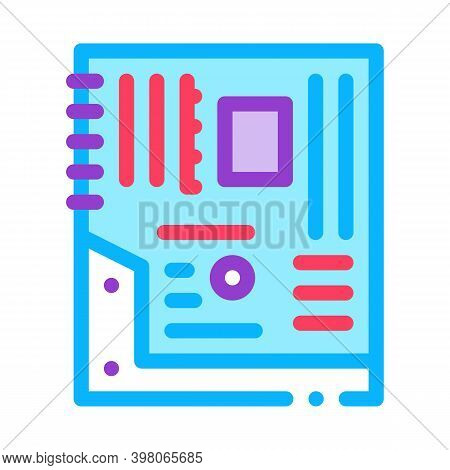 Mainboard Motheboard Computer Part Color Icon Vector. Mainboard Motheboard Computer Part Sign. Isola