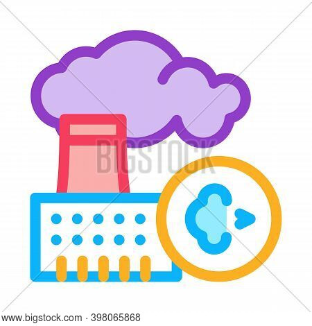 Allergy On Factory Smog Color Icon Vector. Allergy On Factory Smog Sign. Isolated Symbol Illustratio