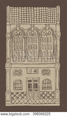 Hand Drawn Line's Double Story Colonial Style Shop House. Monotone Color. Signboard's Caption: The P