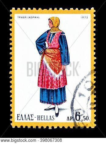 Greece - Circa 1972 : Cancelled Postage Stamp Printed By Greece, That Shows Female Costume, Trikeri,