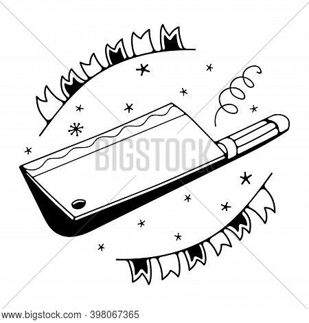 Vector Illustration With Cleaver Knife. Isolated On A White Background. Cute Doodle Illustrations.