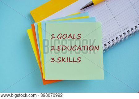 Writing Note Showing Career Goals. Business Photo Showcasing Profession That An Individual Intends T