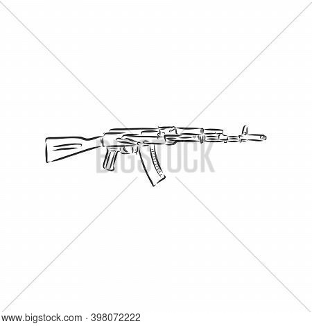 Assault Rifle . Doodle Style. Assault Rifle Vector Sketch Illustration