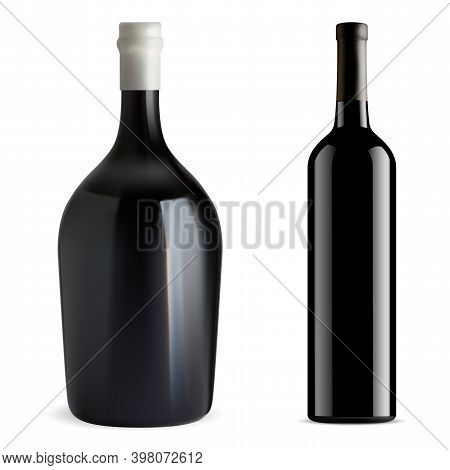 Red Wine Bottle Isolated. Glass Vector Blank. Champagne Or Chardonnay Wine Mockup. Cabernet, Merlot,