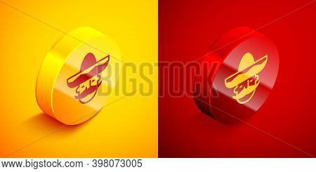 Isometric Mexican Man Wearing Sombrero Icon Isolated On Orange And Red Background. Hispanic Man With