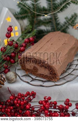 Christmas Yule Log Buche De Noel Chocolate Cake