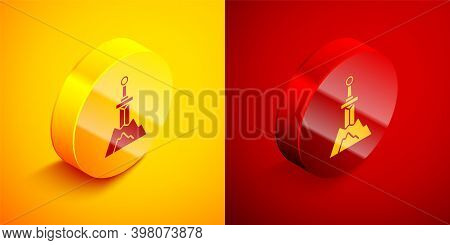 Isometric Sword In The Stone Icon Isolated On Orange And Red Background. Excalibur The Sword In The