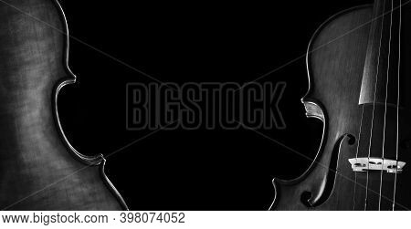 Music Concept. Violins On A Black Background. Violin Body Front And Back. Black And White. Copy Spac
