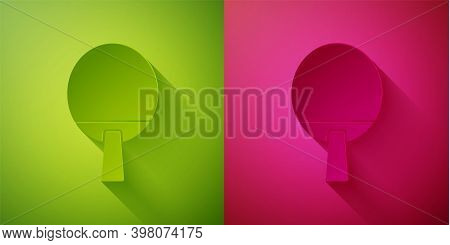 Paper Cut Racket For Playing Table Tennis Icon Isolated On Green And Pink Background. Paper Art Styl