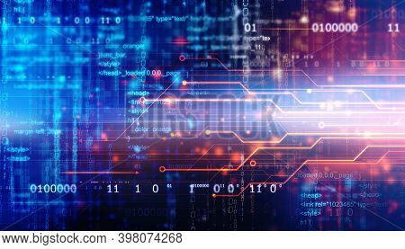 Binary Code Background With Various Technology Elements, Digital Abstract Technology Background, Cir