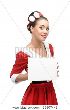 cheerful retro girl holding sign