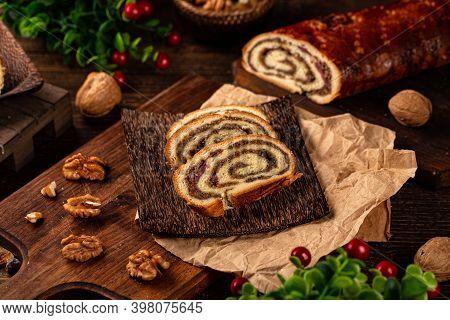Home Baked Stuffed Yeast Roll, Brioche Dough Stuffed With Walnuts