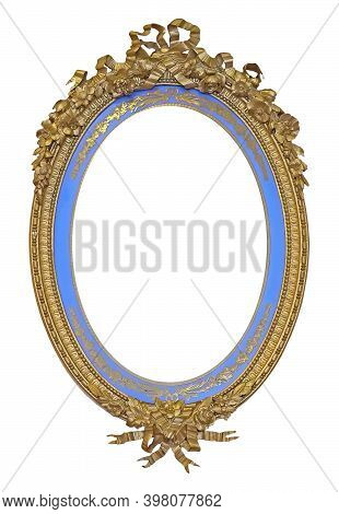 Golden Oval Frame For Paintings, Mirrors Or Photo Isolated On White Background