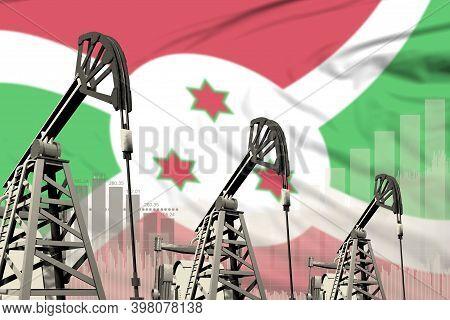 Burundi Oil And Petrol Industry Concept, Industrial Illustration On Burundi Flag Background. 3d Illu
