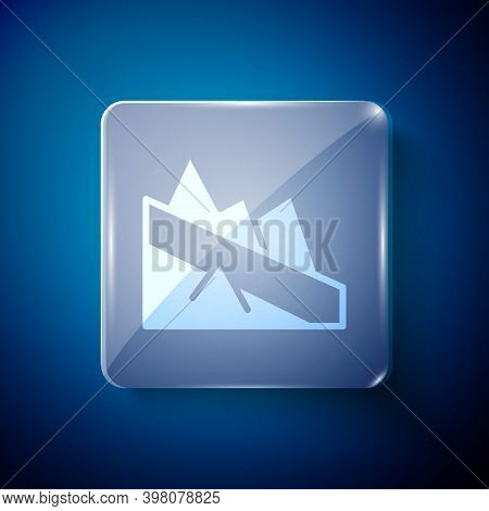 White Mountain Descent Icon Isolated On Blue Background. Symbol Of Victory Or Success Concept. Squar