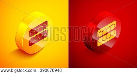 Isometric False Jaw Icon Isolated On Orange And Red Background. Dental Jaw Or Dentures, False Teeth