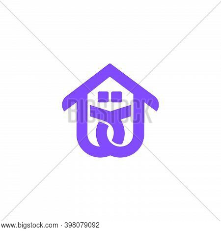 Abstract Letter Bd Roof Home Symbol Flat Geometric Logo Vector