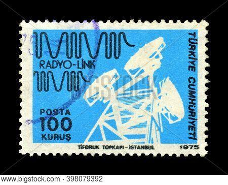Turkey - Circa 1975 : Cancelled Postage Stamp Printed By Turkey, That Shows Radio Antenna, Circa 197
