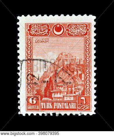Turkey - Circa 1963 : Cancelled Postage Stamp Printed By Turkey, That Shows Ankara Castle, Circa 196