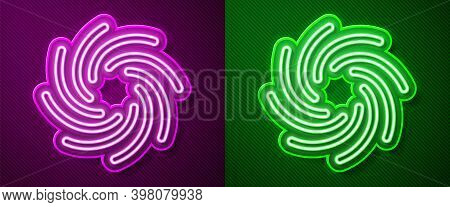 Glowing Neon Line Tornado Icon Isolated On Purple And Green Background. Cyclone, Whirlwind, Storm Fu