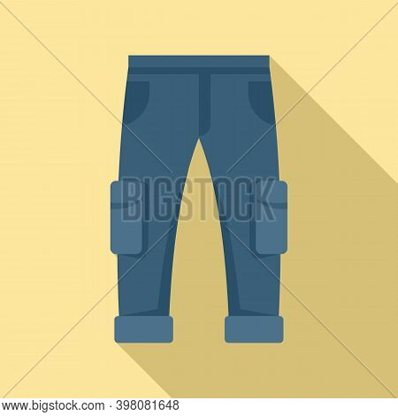 Fisherman Jeans Icon. Flat Illustration Of Fisherman Jeans Vector Icon For Web Design