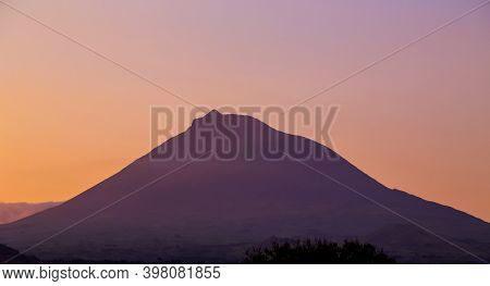 the volcano mountain of pico in beautiful sunset colors. Pico, Azores