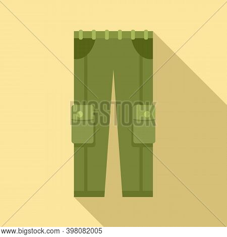 Fisherman Pocket Trousers Icon. Flat Illustration Of Fisherman Pocket Trousers Vector Icon For Web D