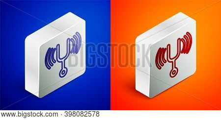 Isometric Line Musical Tuning Fork For Tuning Musical Instruments Icon Isolated On Blue And Orange B