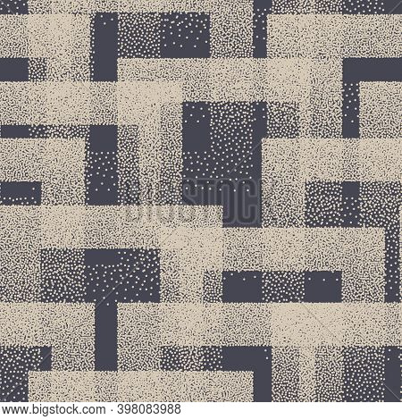 Vector Stippled Weird Trendy Seamless Pattern Abstract Background. Retro Handmade Tileable Geometric