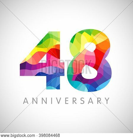 48th Anniversary Numbers. 48 Years Old Logotype. Bright Congrats. Isolated Abstract Graphic Design T