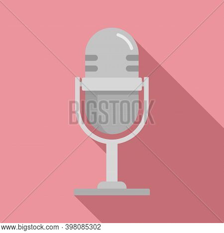 Linguist Microphone Icon. Flat Illustration Of Linguist Microphone Vector Icon For Web Design