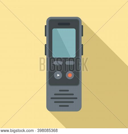 Linguist Dictaphone Icon. Flat Illustration Of Linguist Dictaphone Vector Icon For Web Design
